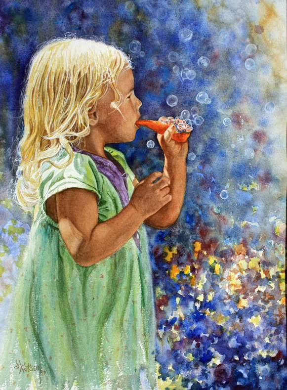 #WorldWatercolorGroup - Watercolor painting by Deb Watson - little girl blowing bubbles - #doodlewash