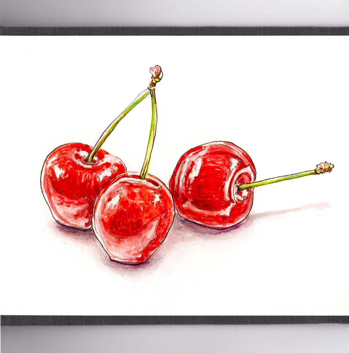 Day 1 - #WorldWatercolorGroup - Glossy Cherries on White Background Watercolor - #doodlewash