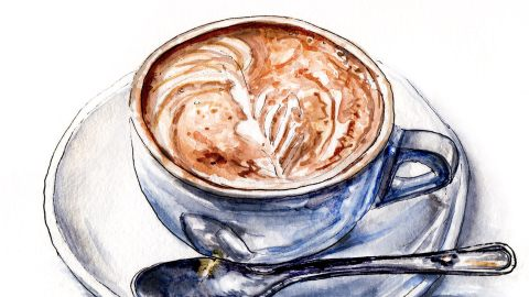 Day 12 - #WorldWatercolorGroup - A Frothy Cup Of Joe - Cappuccino With Spoon On Plate - #doodlewash