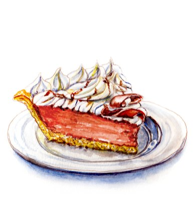 Day 3 - #WorldWatercolorGroup - French Silk Pie Food Illustration Watercolour - #doodlewash