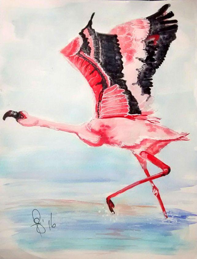 #WorldWatercolorGroup - Watercolor by Susan Feniak - Pink Bird Taking Flight - flamingo - #doodlewash
