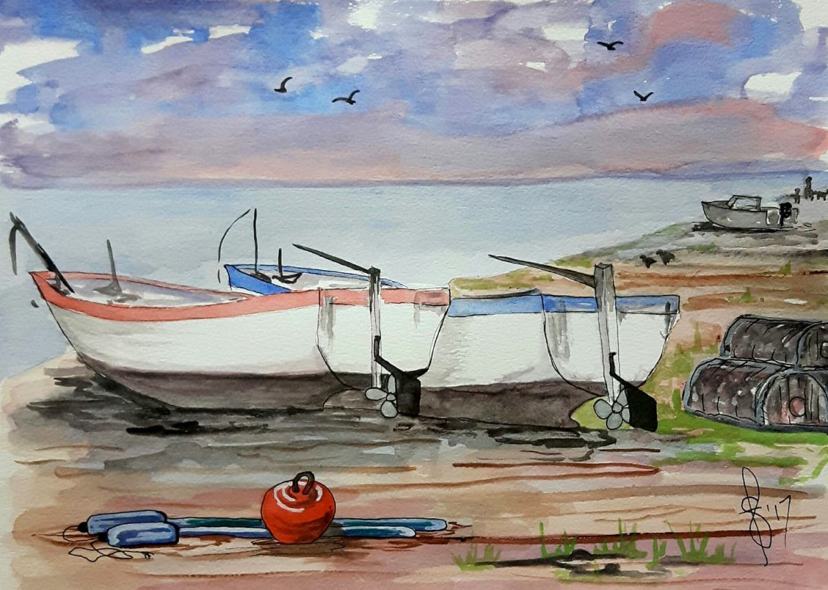 #WorldWatercolorGroup - Watercolor by Susan Feniak - boats - #doodlewash