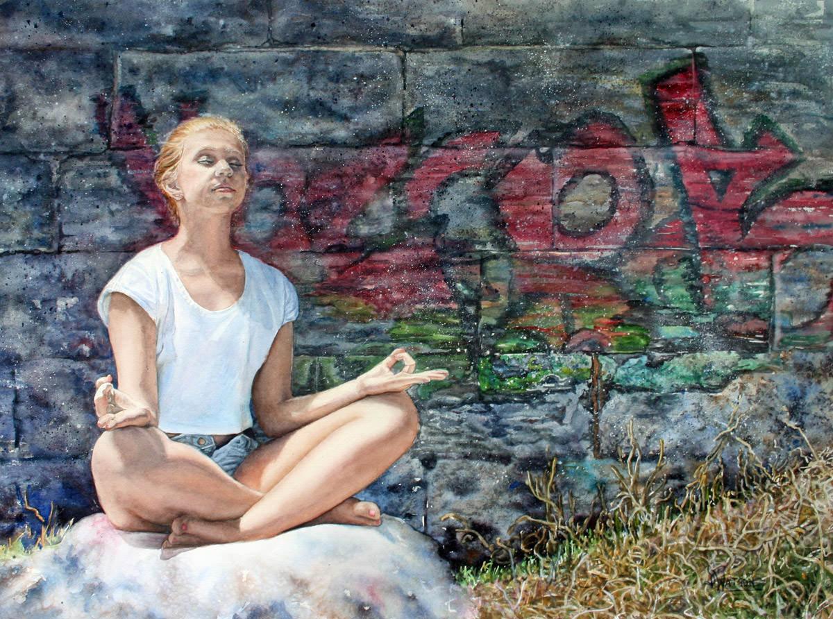 #WorldWatercolorGroup - Watercolor painting by Deb Watson - serenity - meditation - #doodlewash
