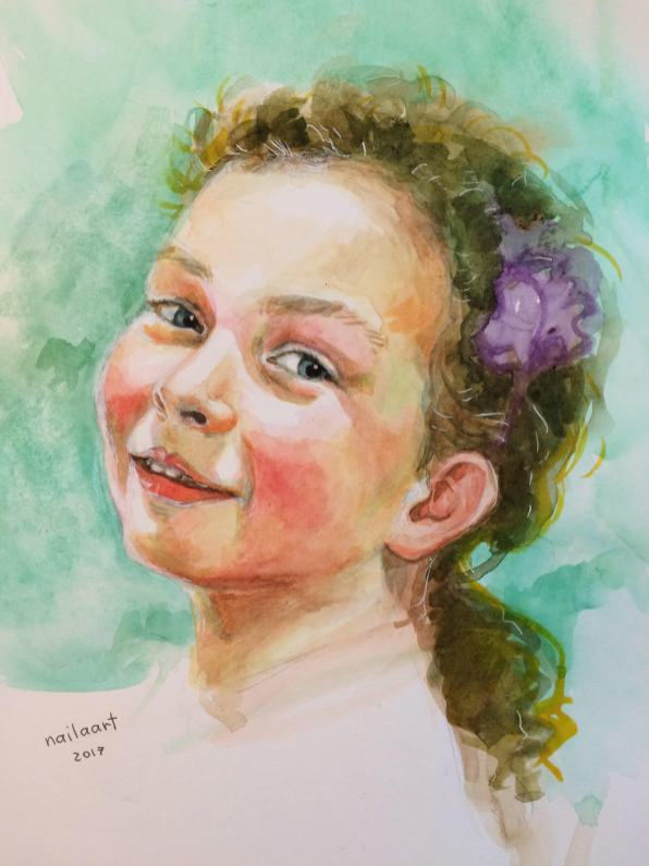 #WorldWatercolorGroup - Watercolor by Naila Hazell - Portrait of smiling young girl - #doodlewash