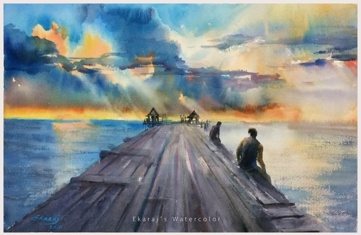 #WorldWatercolorGroup - Watercolor by Ekaraj Worasamutprakarn - #doodlewash