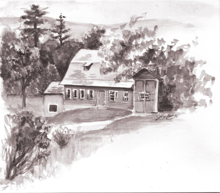 Tonal study of a farm view. Architecture_FarmNaumkeag_WCBS