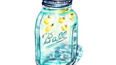 Day 10 - #WorldWatercolorGroup - Lightning Bugs In A Jar Watercolor - #doodlewash