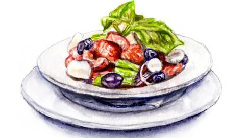 Day 16 - #WorldWatercolorGroup - Summer Greek Salad Watercolor - #doodlewash