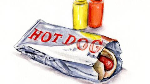 Day 17 - #WorldWatercolorGroup - Hot Dogs At The Public Pool Watercolor - #doodlewash