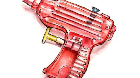 Day 24 - #WorldWatercolorGroup - Dodging Squirt Guns Red Watercolor - #doodlewash