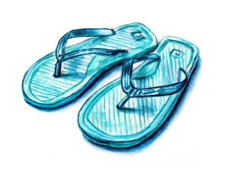 Day 4 - #WorldWatercolorGroup - Blue Summer Flip Flops Watercolor - #doodlewash