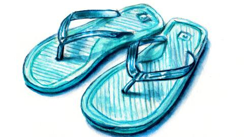 Day 4 - #WorldWatercolorGroup - Blue Summer Flip Flops Watercolor - #doodlewash