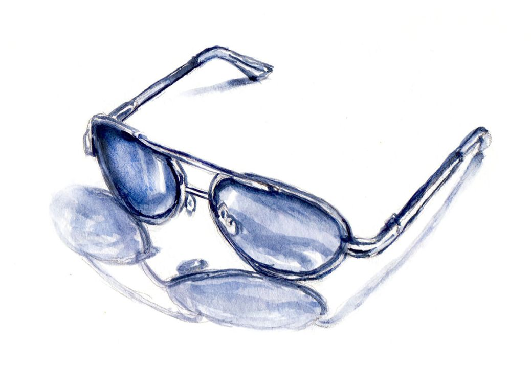 Day 5 - #WorldWatercolorGroup - Dark Sunglasses In Summer Watercolor - #doodlewash
