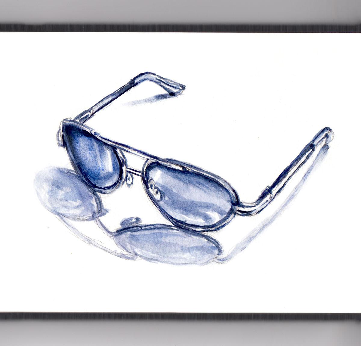 Day 5 - #WorldWatercolorGroup - Dark Sunglasses In Summer Watercolor - #doodlewash