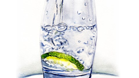Day 6 - #WorldWatercolorGroup A Cold Glass of Water pouring - watercolor - #doodlewash
