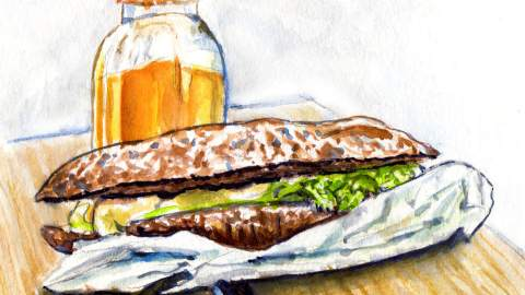 Day 7 - #WorldWatercolorGroup - Lunch On A Park Bench - Watercolor - #doodlewash