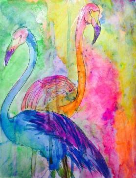 "#WorldWatercolorGroup - Watercolour by Urvashi Patel Art - ""Flamboyance"" - Flamingos - #doodlewash"