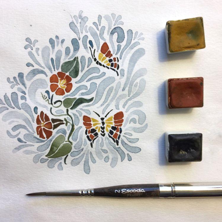 Folk Style doodle, 3 color palette FolkArt