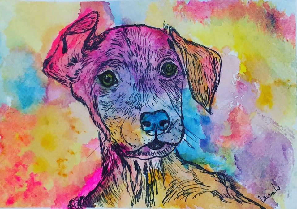 #WorldWatercolorGroup - Watercolour by Urvashi Patel Art - Gabi The Rescue Dog - #doodlewash