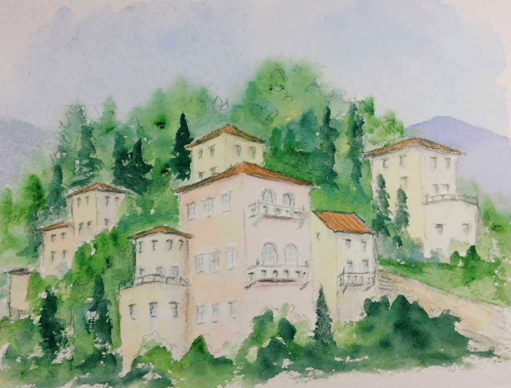 Trying to paint the hillside villas around the lake. Still have some work to do Hillside