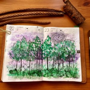 Handmade watercolors by Letter sparrow Summer Nights set and a French Mineral dot card, watercolor painting by jessica seacrest in a hobonichi techo planner