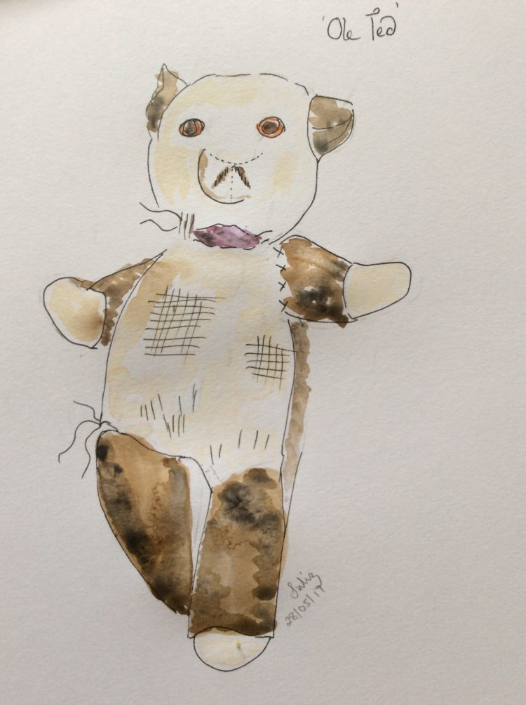 Old Ted, was wc doodled to last months prompt of woven. Old Ted is older than I. My first teddy,pand
