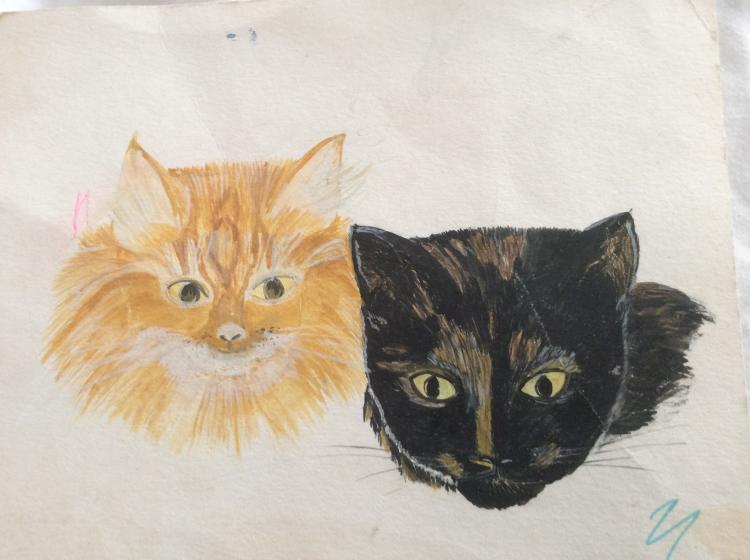 My boys cats, when they were young around the mid 1980s. Tigger and Jemima. Painted with the kids pa