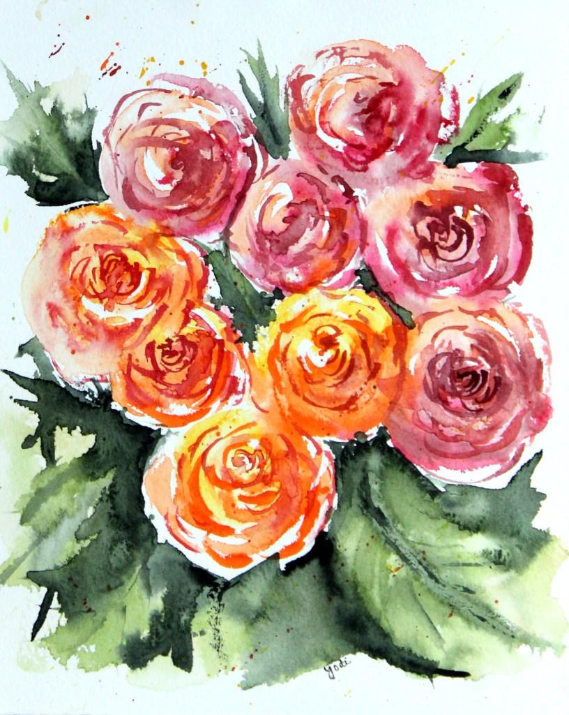 Jenna's Roses Jennas Roses Impressionistic Watercolor 8×10 Saunders 140lb cold press