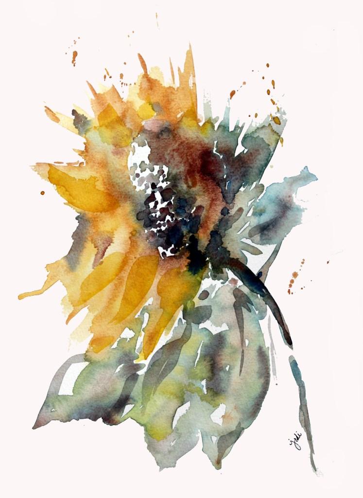 Sunflower Loose Watercolor Sunflower 11×14 Fabriano Artistico 140lb Cold Press