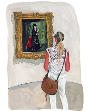 #WorldWatercolorGroup - Art by Jenny Kroik - woman Loving Olden Times Guggenheim - #doodlewash
