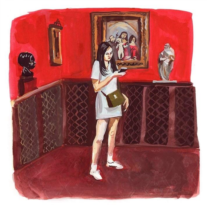 #WorldWatercolorGroup - Art by Jenny Kroik - woman Morgan Library Red Room - #doodlewash