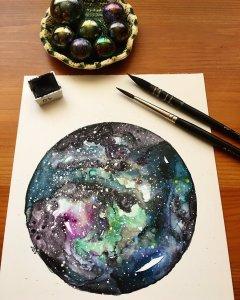 Nebula Watercolor on Yupo Nebula