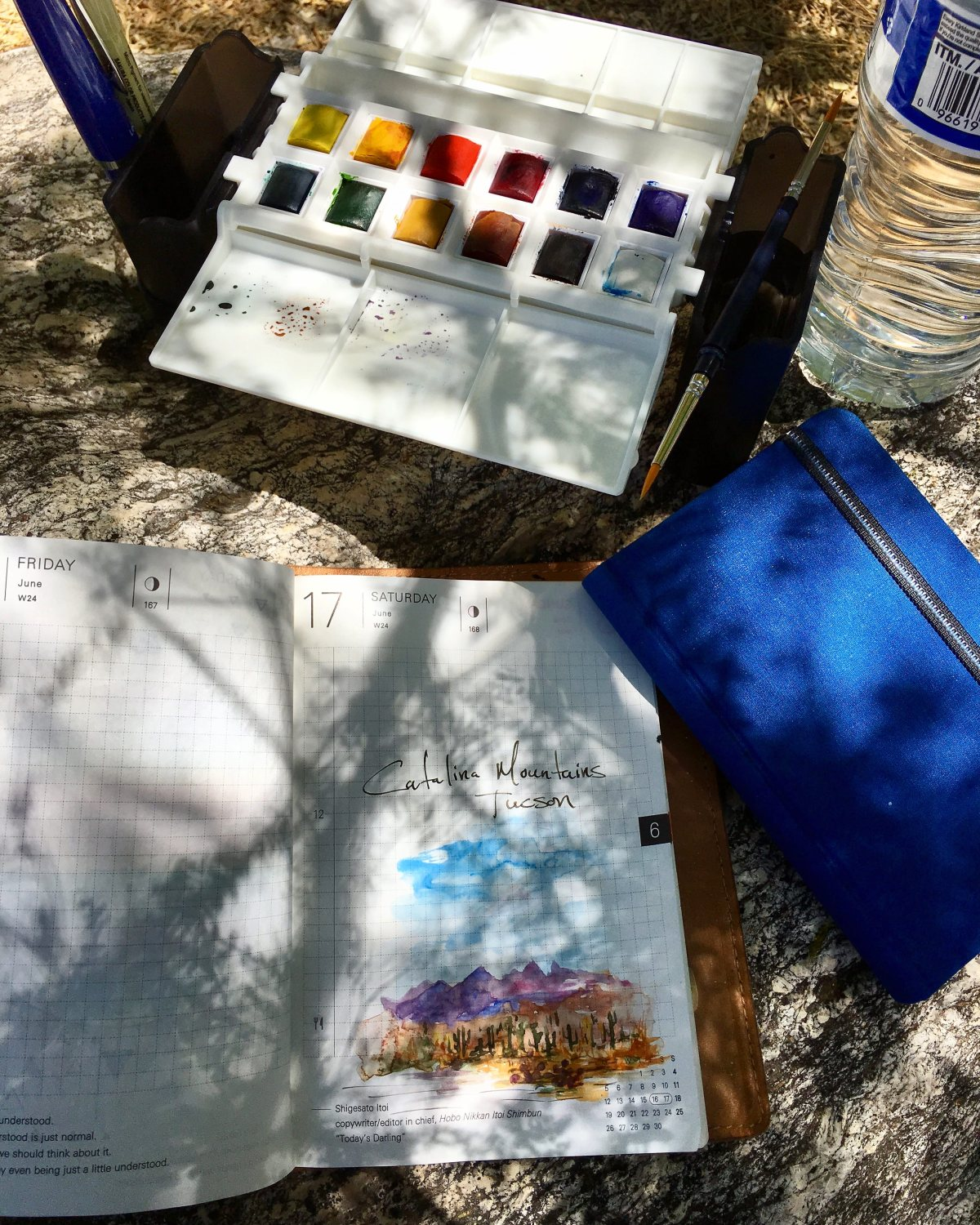 Portable Painter is a hands free travel palette with catalina mountains sketch in tucson by jessica seacrest