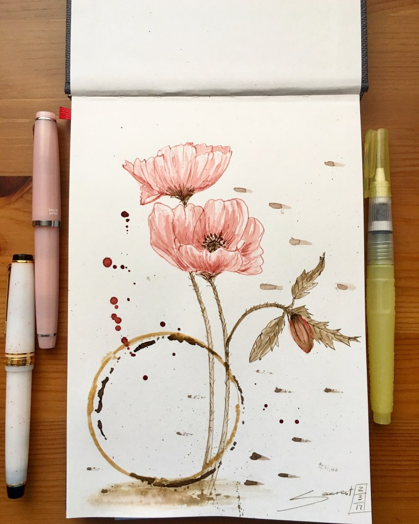 Poppies- Ink and Wash in a Hahnemühle Nostalgie Sketchbook Poppies