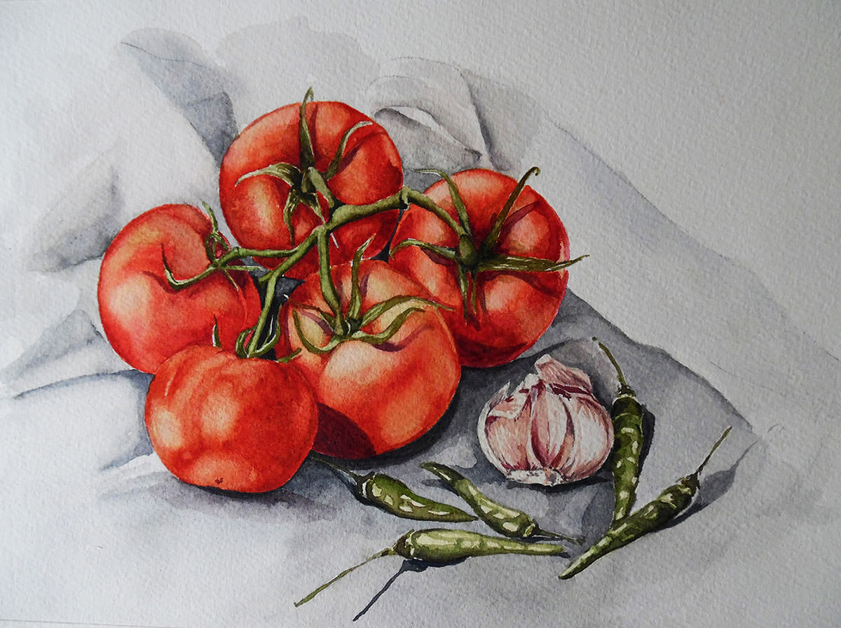 #WorldWatercolorGroup - Watercolor by Nimesha Udani - Tomatoes Garlic Peppers - #doodlewash