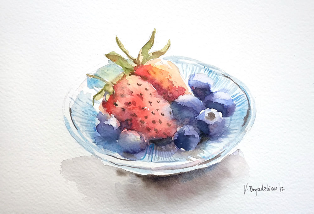 #WorldWatercolorGroup - Watercolor by Violeta Boyadzhieva - bowl of fruit - #doodlewash