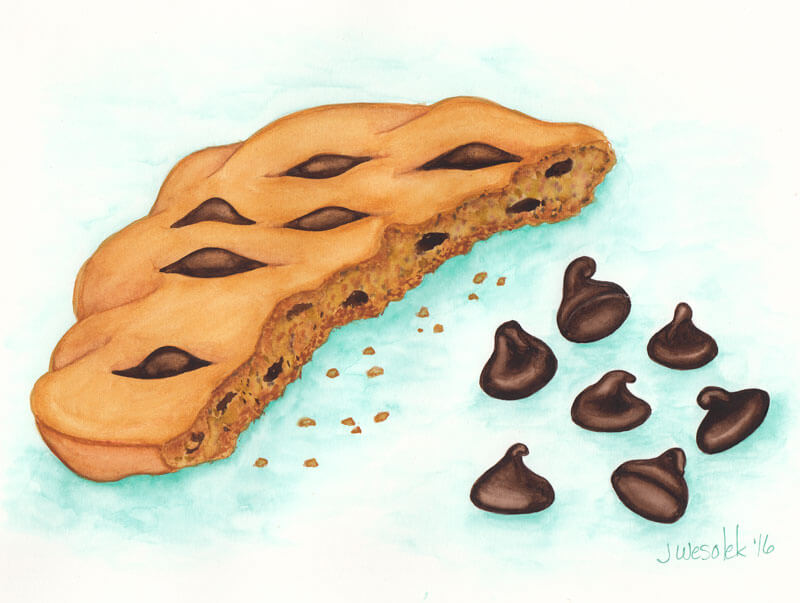 #WorldWatercolorGroup - Watercolor by Jessica Wesolek - chocolate chip cookie - #doodlewash