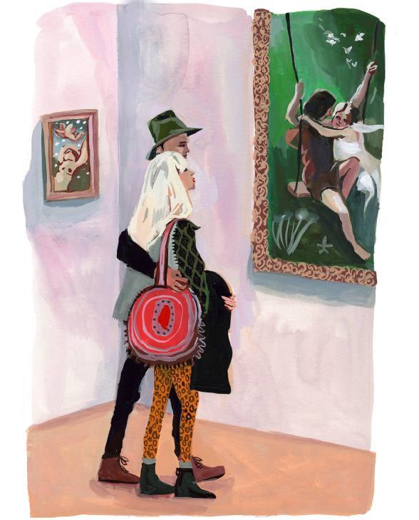 #WorldWatercolorGroup - Art by Jenny Kroik - Couple At The Met - #doodlewash