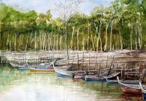 Kuala Sungai Baru,,Malaysia Watercolor on 300 gsm paper Size 30″ x 22″ kuala sg baru
