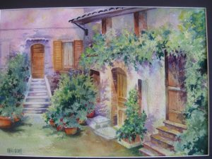 """""""Courtyard in Italy"""" quarter sheet arches 140 lb . more 2015 005"""