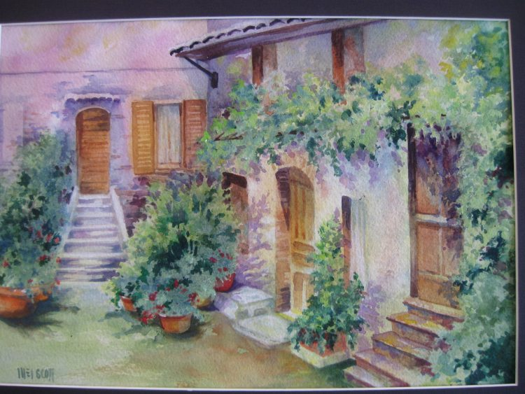"""Courtyard in Italy"" quarter sheet arches 140 lb . more 2015 005"