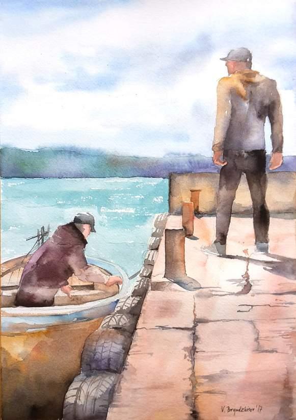 #WorldWatercolorGroup - Watercolor by Violeta Boyadzhieva - men on boat dock - #doodlewash
