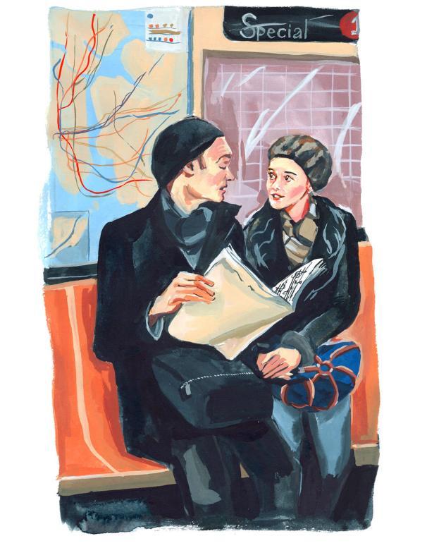#WorldWatercolorGroup - Art by Jenny Kroik - couple on subway - #doodlewash