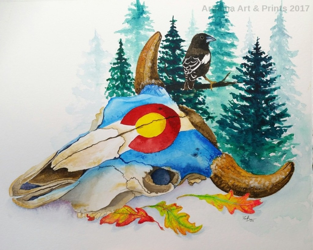 """""""Autumn"""" Watercolor on Arches 300lb hotpress. My native state has one of the best flags"""