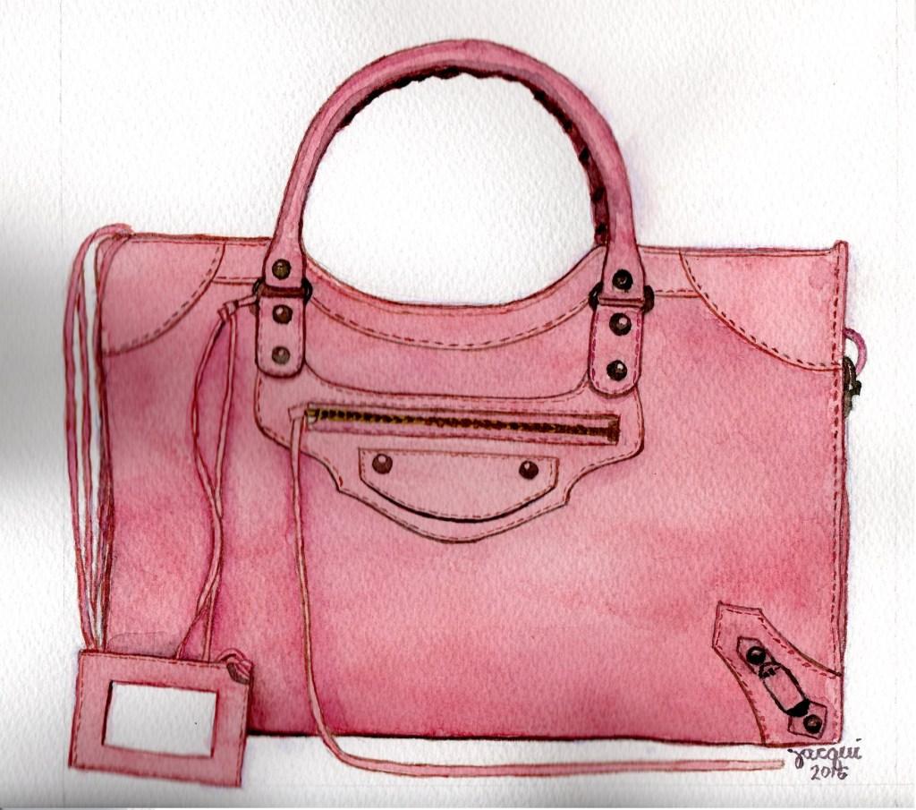 Balenciaga bag. 8″ x 8″. Commissioned painting. BALENCIAGA