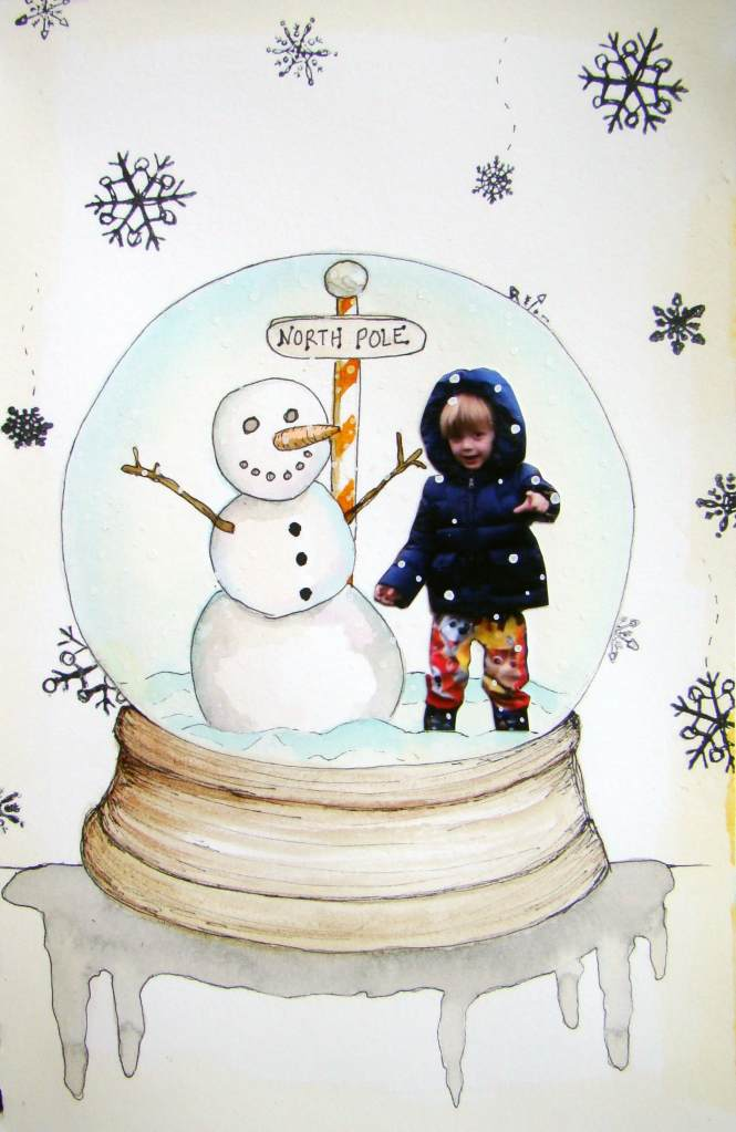 """Day 23, """"I want snow""""…too hot outside! #WatercolorsAreMelting Baby its cold outsid"""