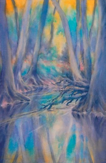 """Cypress Creek Sunrise, No. 2″, is an original watercolor 15″ X 22"" on 300-p"