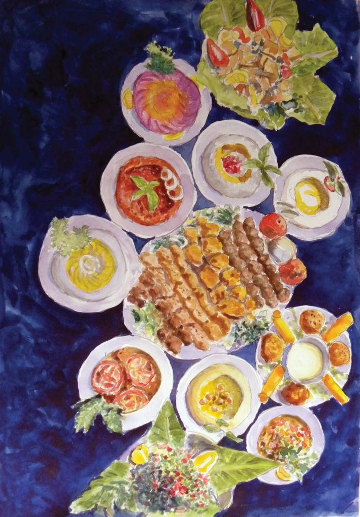 Syrian food! watercolors on paper 30 x 42 cm DSCN9929 (Large)