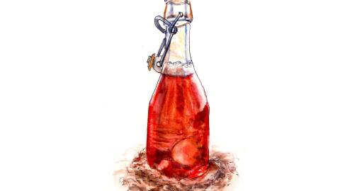 Day 10 - World Watercolor Month - Cider Bottle In the Sand - Doodlewash