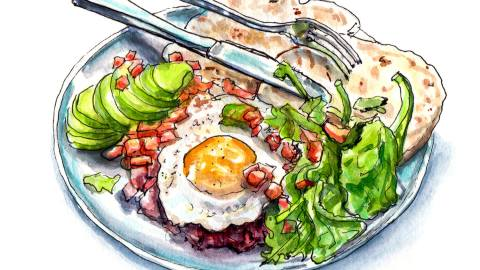 Day 15 - World Watercolor Month - Last Night's Dinner - Tortillas Eggs and Avocado - Doodlewash